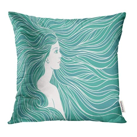 Artistic Linen (USART Artistic Girl Streaming Hair Mermaid Underwater Linen Beautiful Beauty Pillowcase Cushion Cases 20x20 inch)