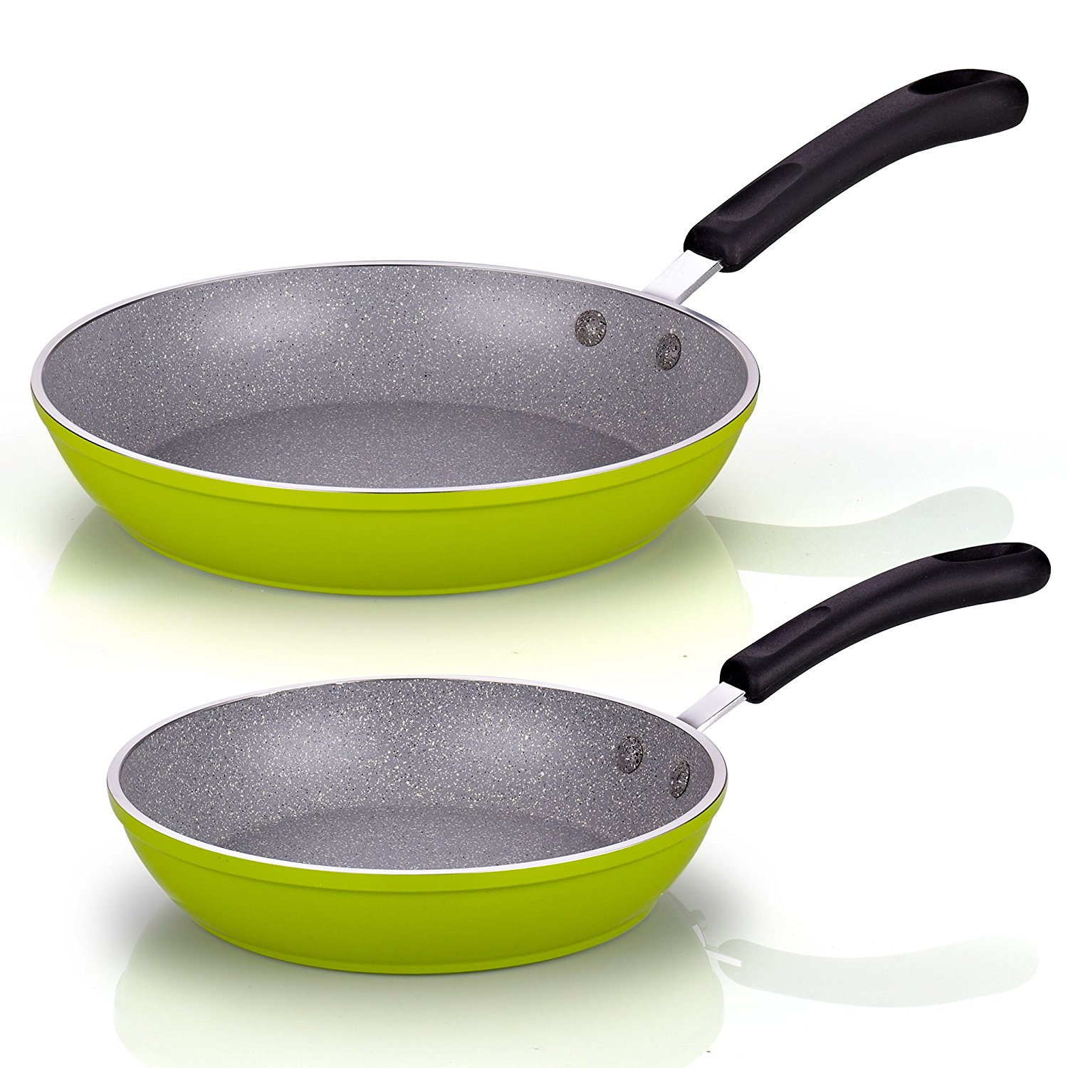 "02499 8"" and 10"" Frying Pan Saute Skillet with Nonstick Coating Heavy Gauge, Green, Frying pan/sauté pan 8-inch diameter by 1.7-inch Height,.., By Cook N Home"