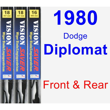 1980 Dodge Diplomat Wiper Blade Set/Kit (Front & Rear) (3 Blades) - Vision Saver
