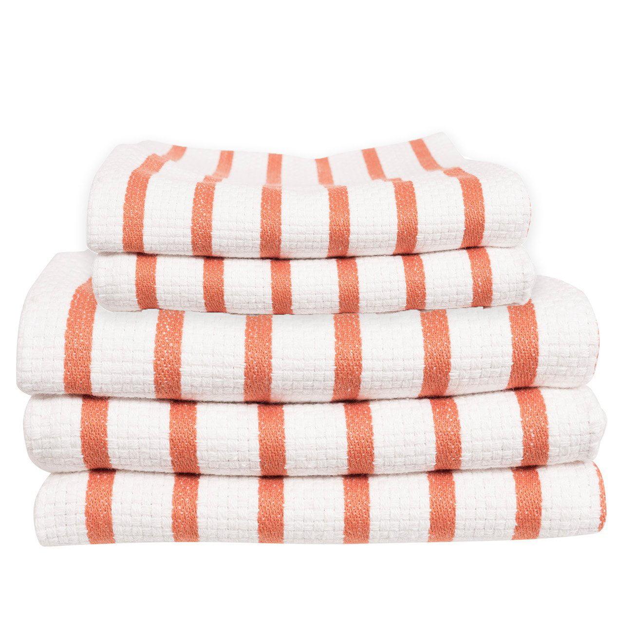 Basketweave Stripe Casserole Dish Towel & Cloth Set Of 5, Orange, Soft, comfortable feel By KAF Home by