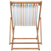 HERCHR Folding Beach Chair Fabric and Wooden Frame Multicolor