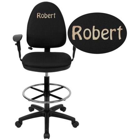 Flash Furniture Personalized Mid-Back Black Fabric Multifunction Drafting Chair with Adjustable Lumbar Support and Adjustable Arms