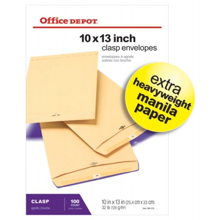 Office Depot Clasp Envelopes, 10in. x 13in., Manila, Box Of 100, 77497