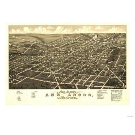 Ann Arbor, Michigan - Panoramic Map Print Wall Art By Lantern - Party Store Ann Arbor