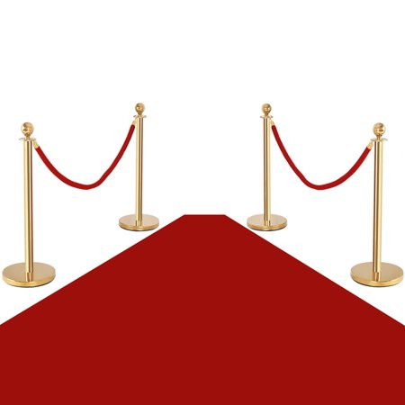 Costway 4Pcs Stanchion Posts Queue Pole Retractable 2 Velvet Ropes Crowd Control Barrier - Stanchion Rope