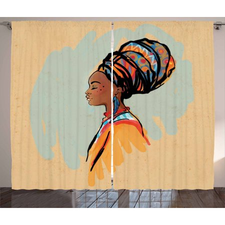 African Woman Curtains 2 Panels Set, Watercolor Profile Portrait of Native Woman with Ethnic Hairdo and Earrings, Window Drapes for Living Room Bedroom, 108W X 108L Inches, Multicolor, by Ambesonne