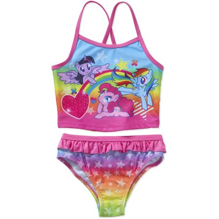 my little pony toddler girl two piece swimsuit walmart com