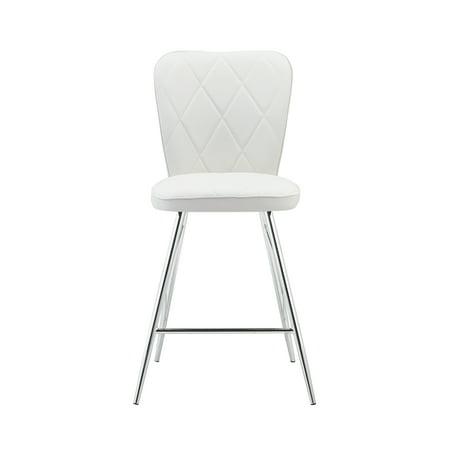 Global Furniture Diamond Back Design White Barstool