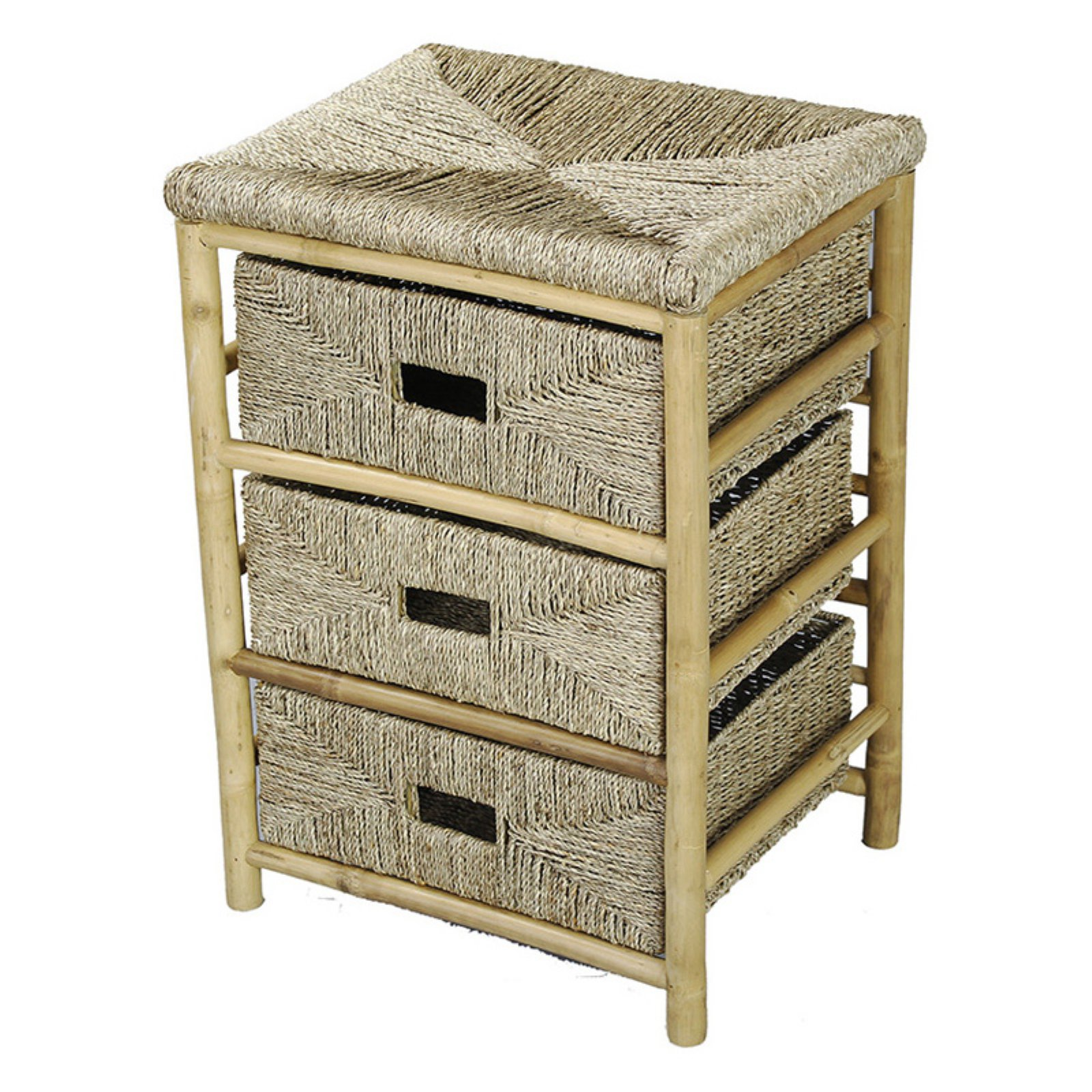 Heather Ann Creations Kaleo 3 Drawer Bamboo and Seagrass Open Frame Storage Cabinet