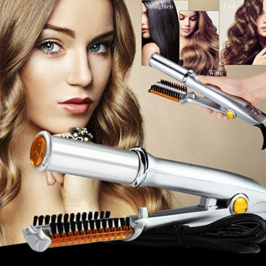 Professional 3-Mode 2-Way Rotating Curling Iron Hair Brush Curler Straightener Salon Hairdressing Tool