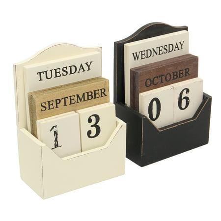 Perpetual Desk Calendar - Vintage Wood Block Perpetual Calendar Retro Wooden Office Home Desk Decor DIY