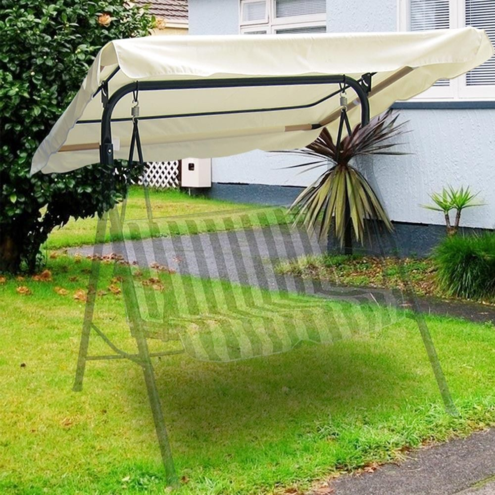 """Swing Canopy Cover (Ivory) 66""""x45"""" - Deluxe Polyester Top Replacement UV Block Sun Shade Waterproof Decor for Outdoor Garden Patio Yard Park Porch Seat Furniture"""