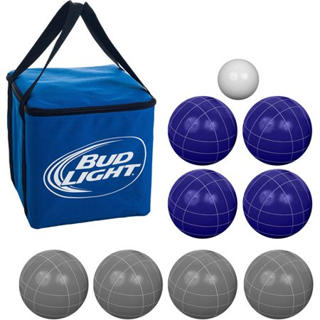 Bocce Ball Set- Regulation Outdoor Family Bocce Game for Backyard, Lawn, Beach and More- 8 Balls, Pallino, and Carrying Case by Hey! Play! (Bud Light)