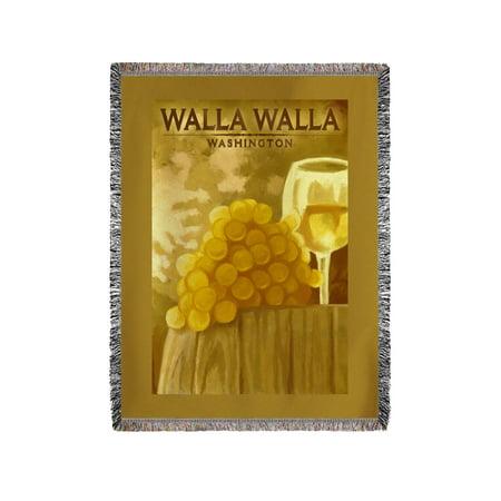 Walla Walla  Washington   White Grapes   Wine Glass   Oil Painting   Lantern Press Artwork  60X80 Woven Chenille Yarn Blanket