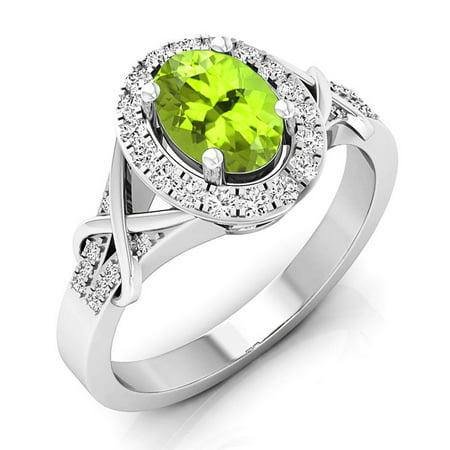 Dazzlingrock Collection 10K Oval Cut Peridot & Round Cut Diamond Bridal Halo Engagement Ring, White Gold, Size 9