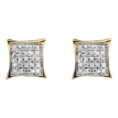 - 10K Yellow Gold Diamond Micro Pave Square Kite Fashion Stud Earrings .15Ct