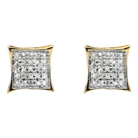 10K Yellow Gold Diamond Micro Pave Square Kite Fashion Stud Earrings .15Ct