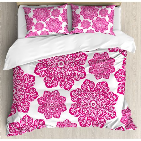 Hot Pink Queen Size Duvet Cover Set, Ethnic Batik Floral Arrangement with Eastern Artistic Design Mandala Pattern, Decorative 3 Piece Bedding Set with 2 Pillow Shams, Hot Pink White, by