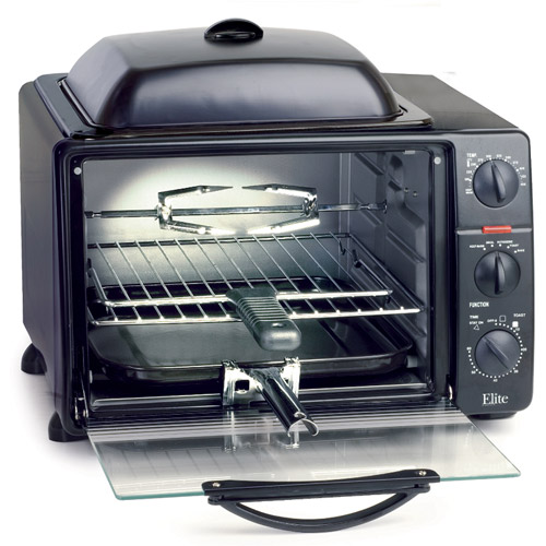 Elite Pro 23-Liter Toaster Oven with Rotisserie & Grill/Griddle Top with Lid