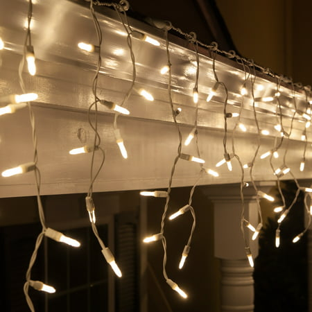 Wintergreen Lighting Mini Icicle Lights 70 Warm White LED Icicle Christmas Lights 7.5 Ft. , White Wire Indoor or Outdoor (Red Green And White Christmas Tree Lights)