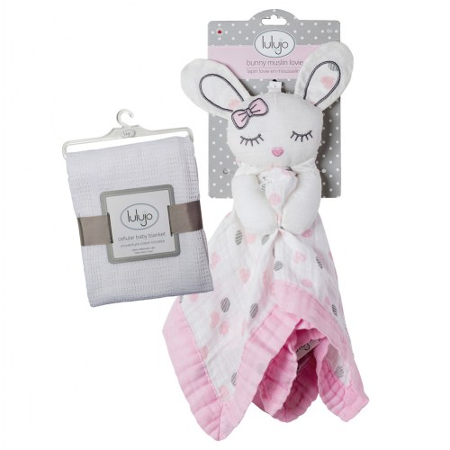 lulujo Muslin Pink Bunny Lovey & Cellular Blanket Set