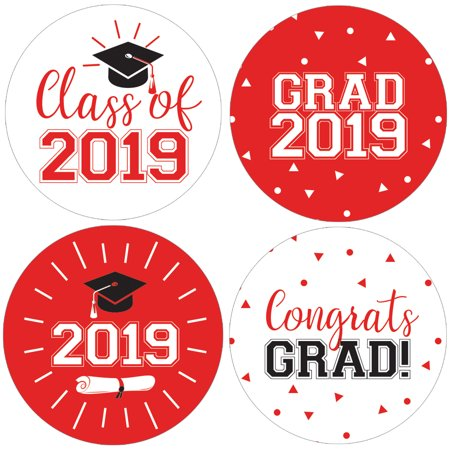 Red Graduation Party Stickers | 40 count | 1 3/4 inch | Class of 2019 Favor - Graduation Favor Ideas