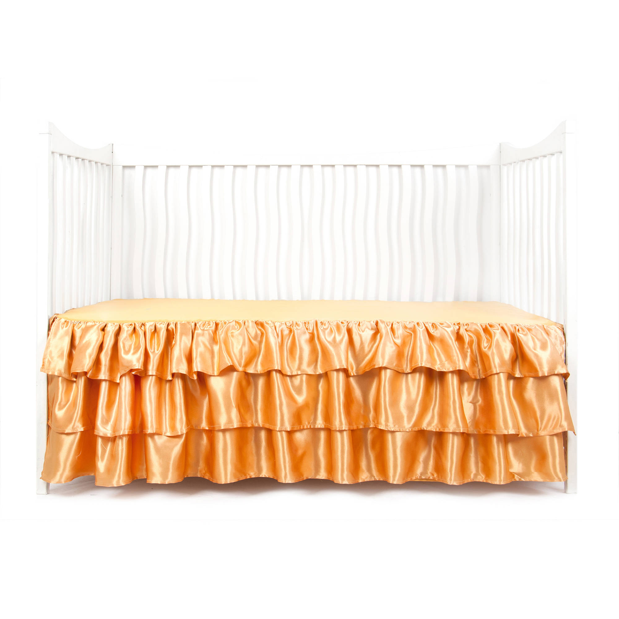 Tadpoles Gold Ruffled Satin Crib Skirt