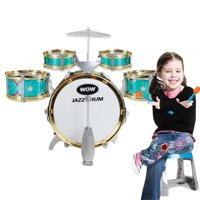 Kids Children Drum Kit Play Set Drums Musical Toy Instrument Pedal Stool