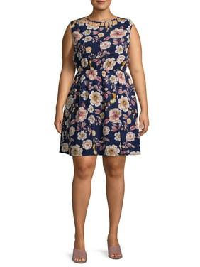 Monteau Women's Plus Size Sleeveless Woven Floral Dress