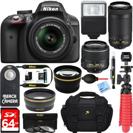 Nikon D3300 24.2MP Digital SLR Camera with AF-S 18-55mm VR II & 70-300mm Lens + 64GB Accessory Bundle