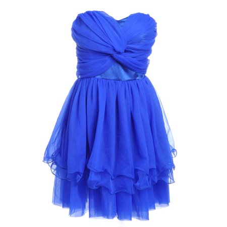 S/M Fit Blue Gathered Ruched Sweetheart Bodice Lace Up Back Dress