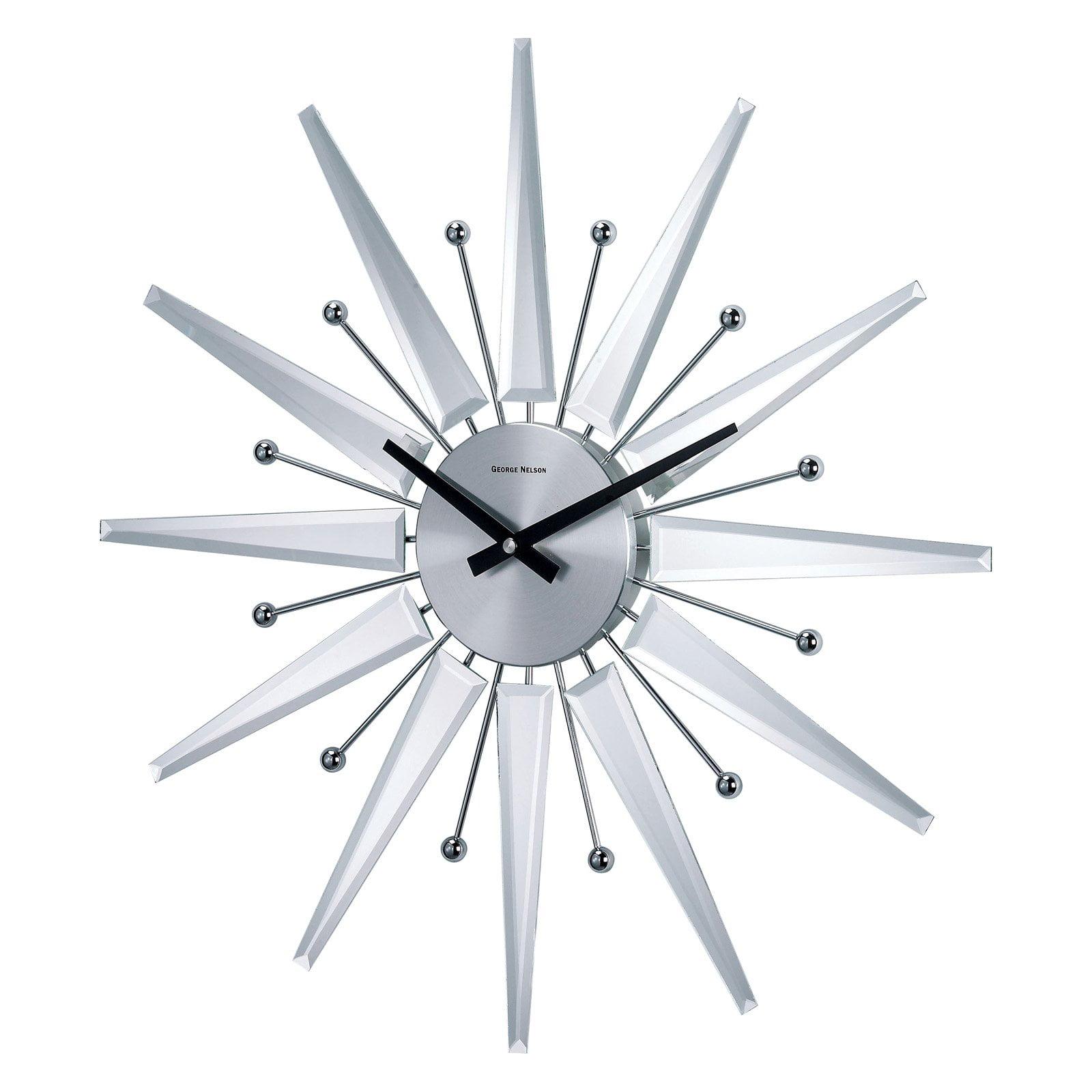 george nelson mirrored  in starburst wall clock  walmartcom -