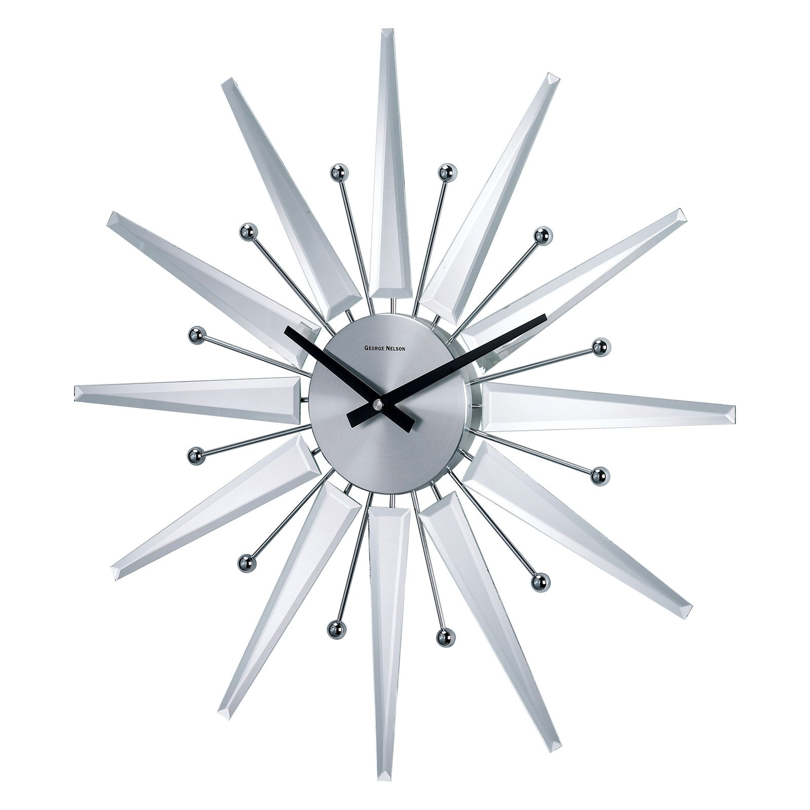 George Nelson Mirrored 19.375 in. Starburst Wall Clock