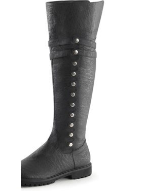 0ec46f3f70f Product Image Mens Black Boots with Fold Over Cuff Pirate Boots with 1.5    Flat Heels. SummitFashions