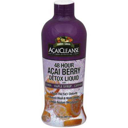Garden Greens AcaiCleanse 48 Hour Acai Berry Detox Liquid with Lemon, Maple Syrup & Cayenne 32