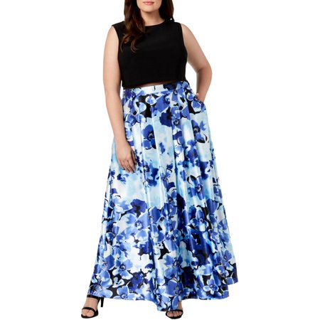 Betsy & Adam Women's Plus Size Illusion Floral-Print Gown - Morticia Addams Dresses