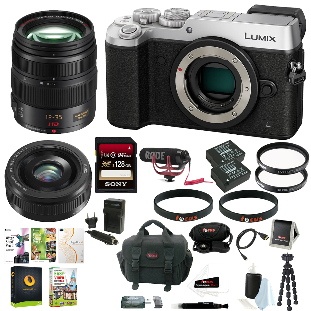Panasonic LUMIX DMC-GX8 Mirrorless Digital Camera (Silver) w  12-35mm & 20mm f 1.7 II Lenses + Accessory Kit by Panasonic