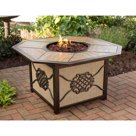 Oakland Living Corporation Memorial Gas Firepit Table with Porcelain top, Burner and Red Lava Rocks ()