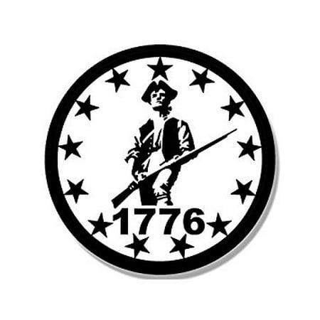 WHITE Round 1776 Minuteman 13 Stars Sticker Decal (minutemen border patriot) 4 x 4 inch