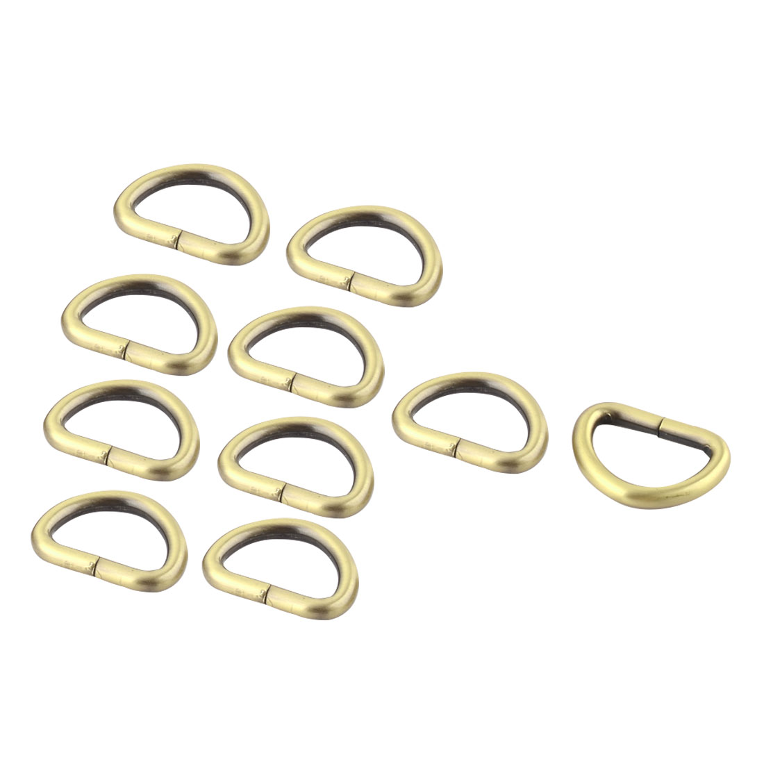 "Luggage Metal D Shaped Ring Buckle 1"" x 0.63"" Inside Size Bronze Tone 10 Pcs"