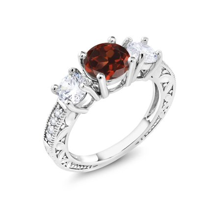 3.16 Ct Round Red Garnet Rhodium Plated 3-Stone Women's Ring ()