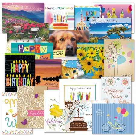 Mega Birthday Cards Value Pack - Set of 40 (2 of each)