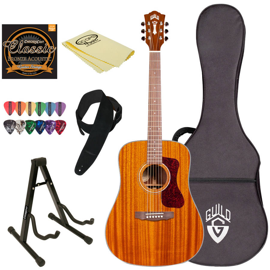 Guild D-120 NAT Natural Acoustic Dreadnought All Mahogany Guitar with Guild Hard Case and ChromaCast Accessories
