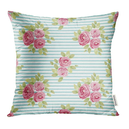 - USART Album Cute Shabby Chic Pattern with Roses and Stripes Bloom Bouquet Country Pillowcase Cushion Cover 16x16 inch
