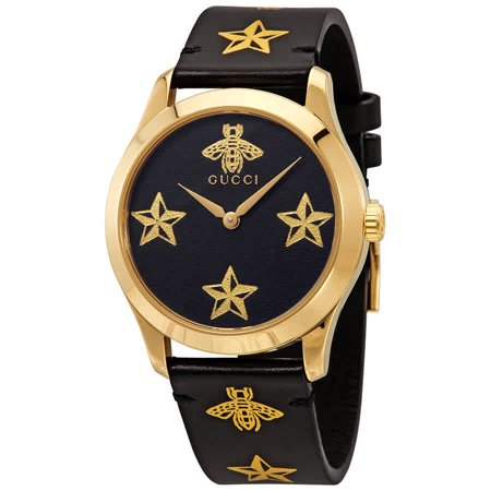 Gucci G-Timeless Black Dial Black Leather Ladies Watch YA1264055