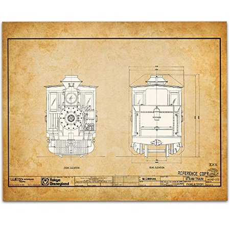 Tokyo Disneyland Railroad Locomotive Blueprint - 11x14 Unframed Patent Print - Great Gift for Railfans