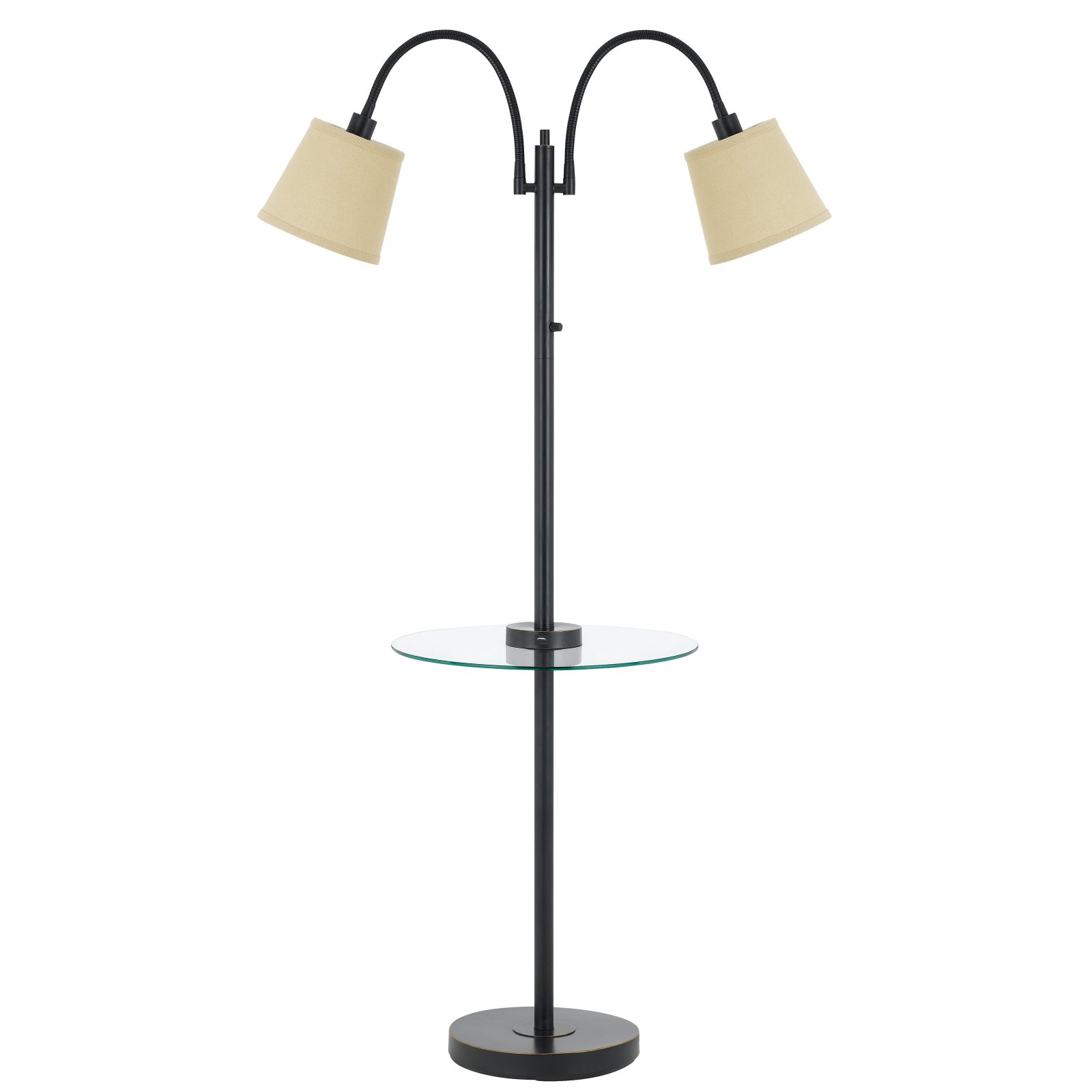 Cal Lighting Gail Double Gooseneck Floor Lamp with Glass Table and Charging Ports by CAL Lighting