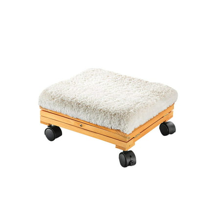 Etna Products Portable Sherpa Top Folding Foot Stool Footrest - Collapsible Cushioned Ottoman