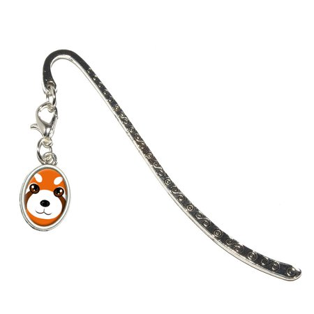 Red Panda Cute Oval Charm Metal Bookmark](Cute Halloween Bookmarks)
