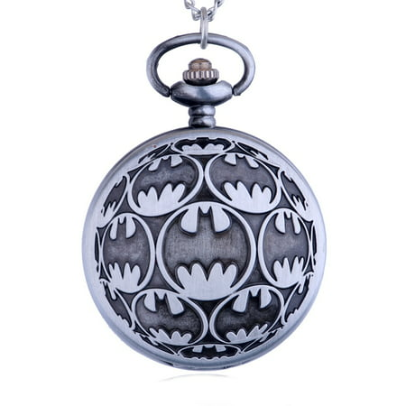 Date Silver Pocket Watch - New Design Batman Pocket Watch Anti-Tarnish  WP-BM-1